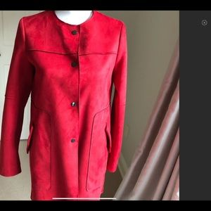 Zara red faux suede leather coat
